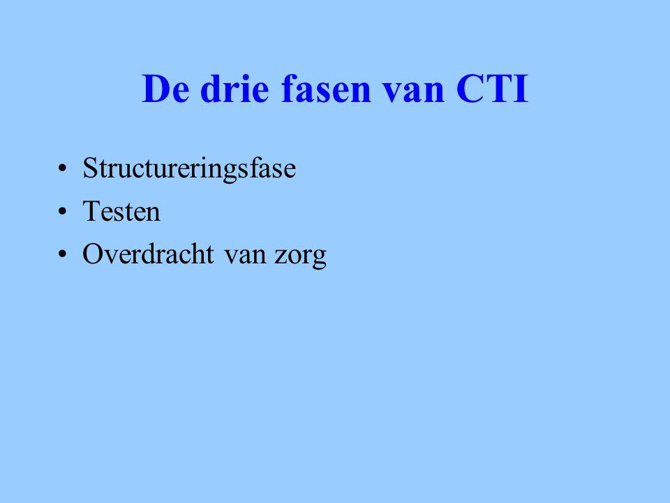 De drie fasen van CTI Structureringsfase Testen Overdracht van zorg