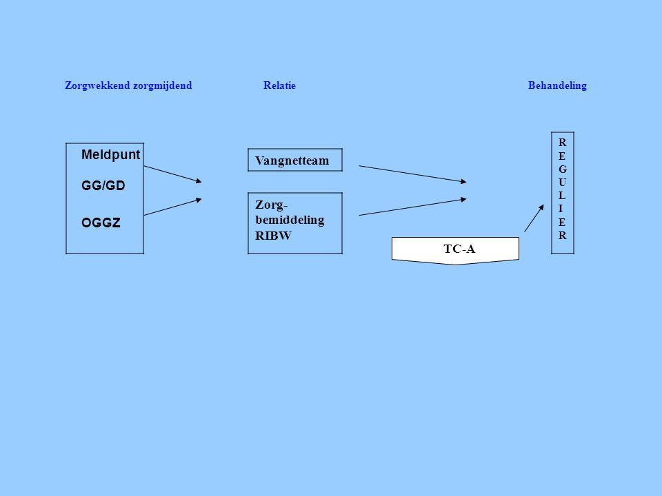 Zorgwekkend zorgmijdendRelatieBehandeling Meldpunt GG/GD OGGZ Vangnetteam Zorg- bemiddeling RIBW REGULIERREGULIER TC-A