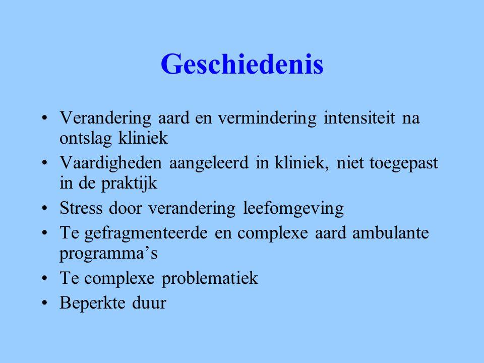 Principes ACT Gericht op specifieke groep met ernstige psychiatrische stoornissen Niet alleen coördinatie van zorg Gedeelde case-load Beperkte case-load (1-10) Flexibel Interventies in leefomgeving Niet tijdsgebonden Individuele behandeling, ondersteuning en rehabilitatie 7 x 24 uur beschikbaar Assertieve attitude