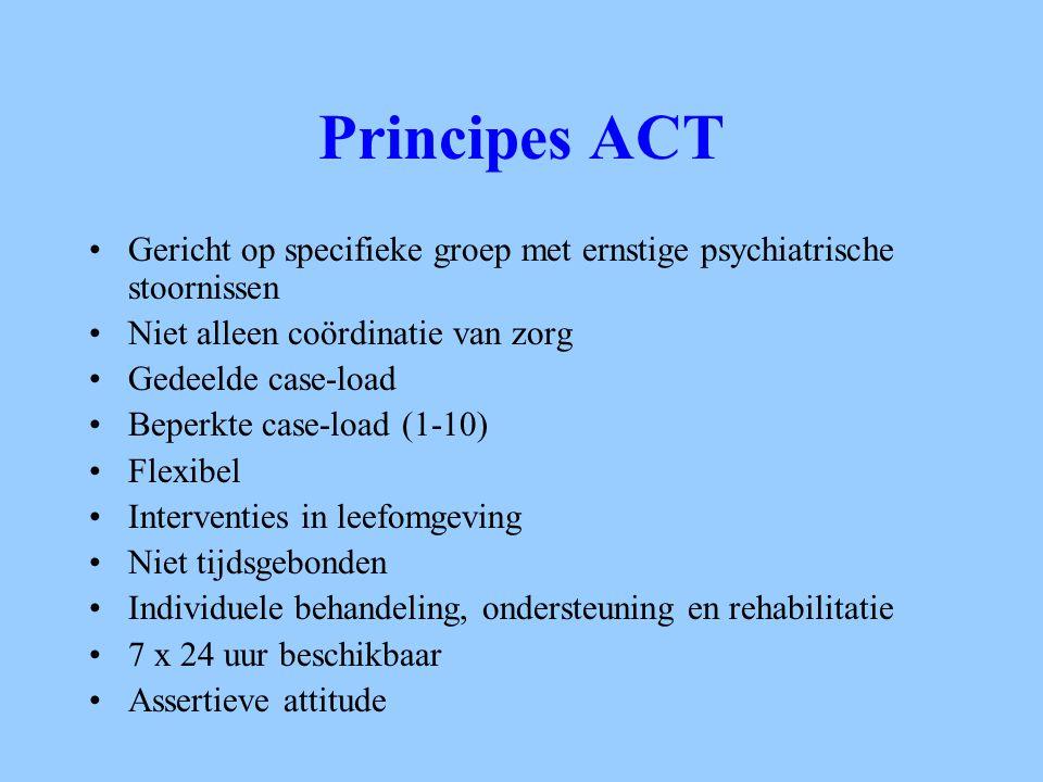 Principes ACT Gericht op specifieke groep met ernstige psychiatrische stoornissen Niet alleen coördinatie van zorg Gedeelde case-load Beperkte case-lo