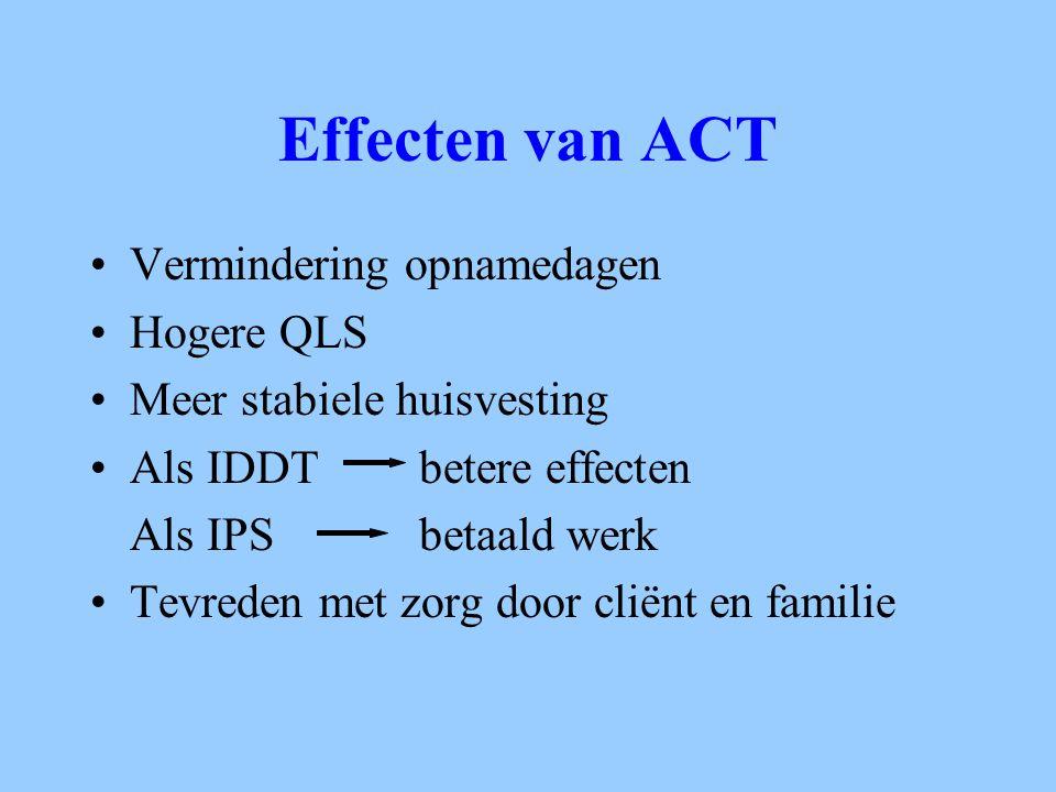 Effecten van ACT Vermindering opnamedagen Hogere QLS Meer stabiele huisvesting Als IDDT betere effecten Als IPS betaald werk Tevreden met zorg door cl