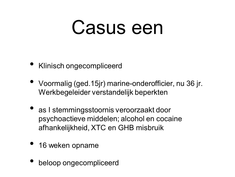 Casus een Klinisch ongecompliceerd Voormalig (ged.15jr) marine-onderofficier, nu 36 jr. Werkbegeleider verstandelijk beperkten as I stemmingsstoornis