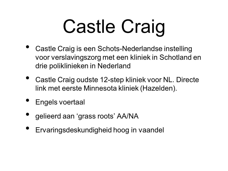 Castle Craig Castle Craig is een Schots-Nederlandse instelling voor verslavingszorg met een kliniek in Schotland en drie poliklinieken in Nederland Ca