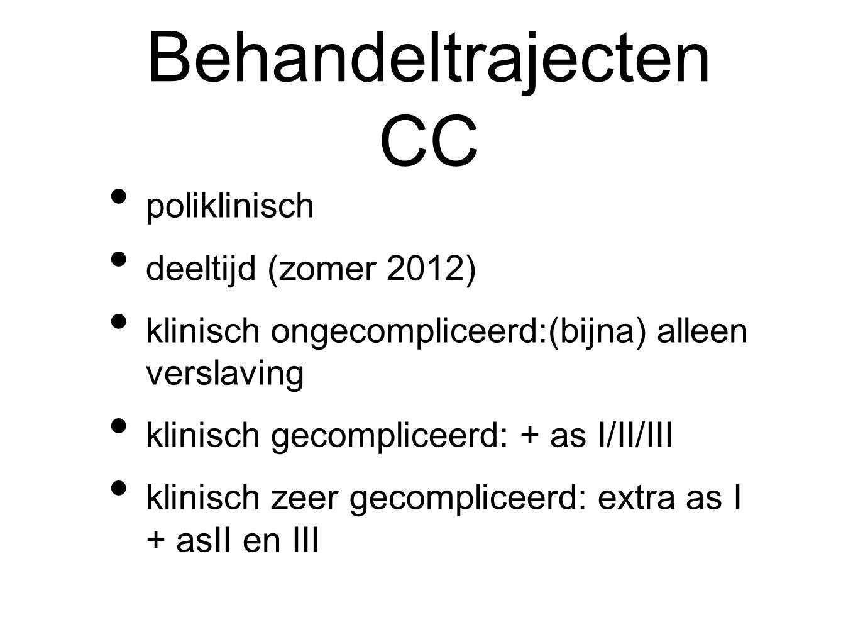 Behandeltrajecten CC poliklinisch deeltijd (zomer 2012) klinisch ongecompliceerd:(bijna) alleen verslaving klinisch gecompliceerd: + as I/II/III klini