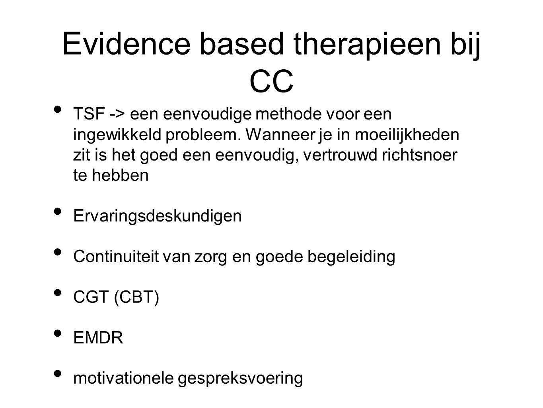 Evidence based therapieen bij CC TSF -> een eenvoudige methode voor een ingewikkeld probleem. Wanneer je in moeilijkheden zit is het goed een eenvoudi