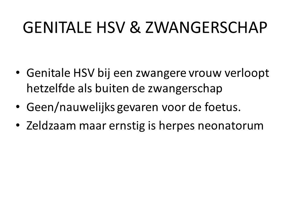 GENITALE HSV & ZWANGERSCHAP Genitale HSV bij een zwangere vrouw verloopt hetzelfde als buiten de zwangerschap Geen/nauwelijks gevaren voor de foetus.
