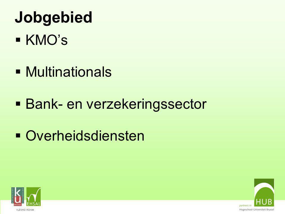 VLEKHO-HONIM Jobgebied  KMO's  Multinationals  Bank- en verzekeringssector  Overheidsdiensten