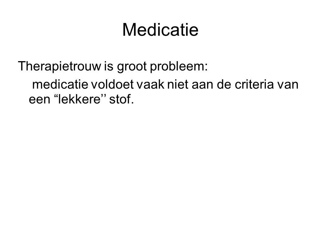 Medicatie Therapietrouw is groot probleem: medicatie voldoet vaak niet aan de criteria van een lekkere'' stof.