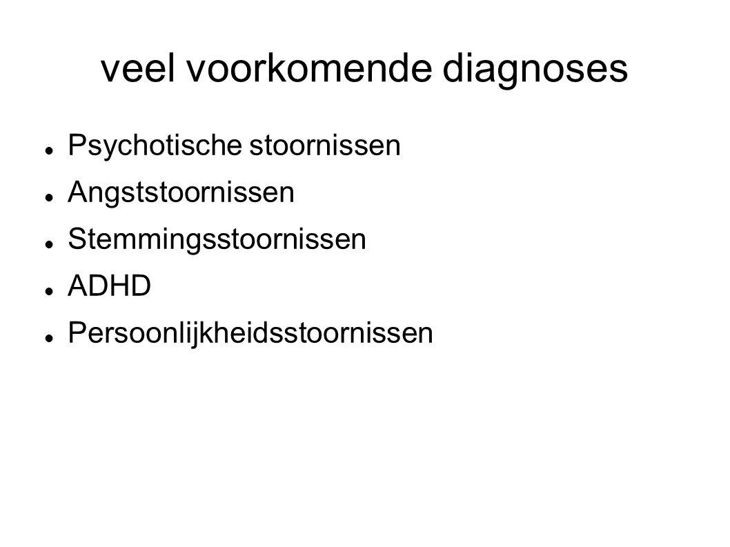 veel voorkomende diagnoses Psychotische stoornissen Angststoornissen Stemmingsstoornissen ADHD Persoonlijkheidsstoornissen