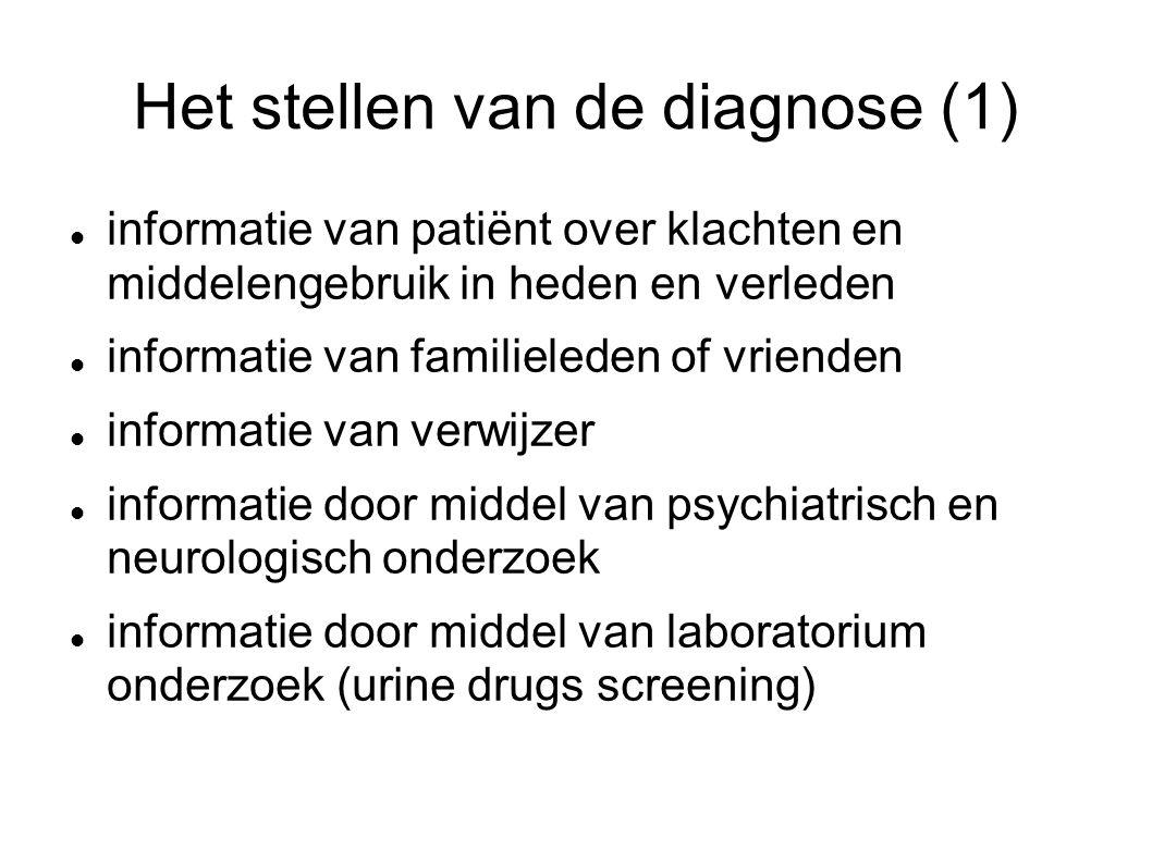 Het stellen van de diagnose (1) informatie van patiënt over klachten en middelengebruik in heden en verleden informatie van familieleden of vrienden