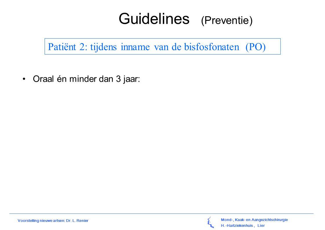 Mond-, Kaak- en Aangezichtschirurgie H.-Hartziekenhuis, Lier Voorstelling nieuwe artsen: Dr. L. Renier Guidelines (Preventie) Patiënt 2: tijdens innam