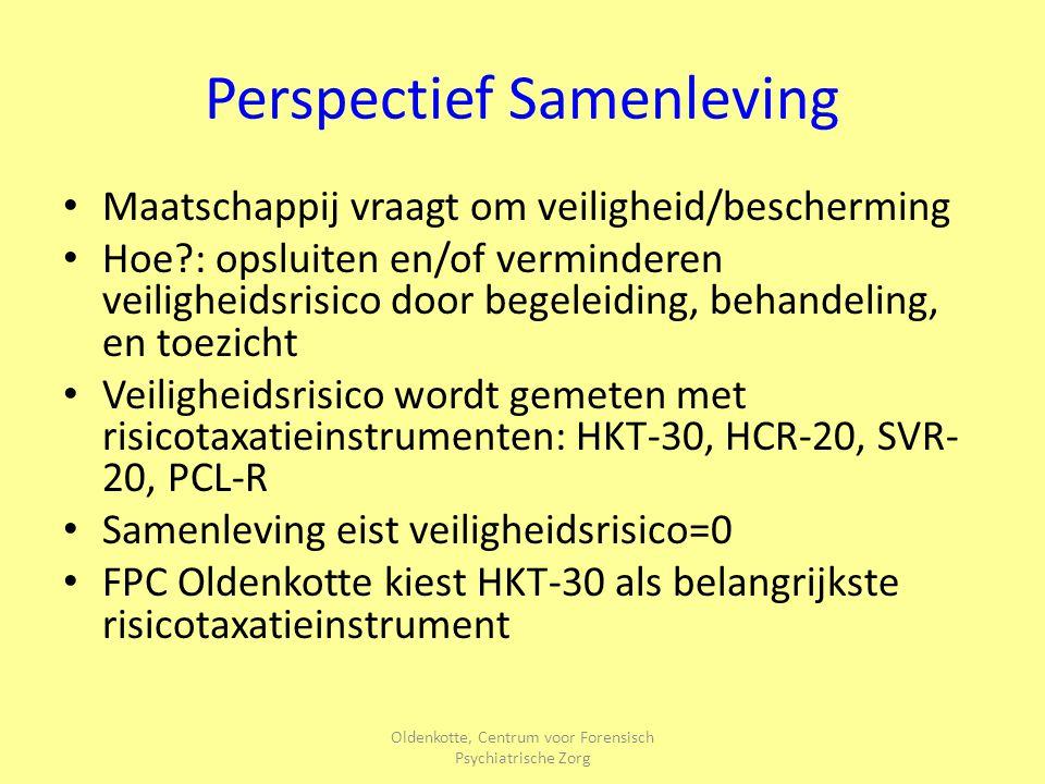 Oldenkotte, Centrum voor Forensisch Psychiatrische Zorg Perspectief Samenleving Maatschappij vraagt om veiligheid/bescherming Hoe?: opsluiten en/of ve
