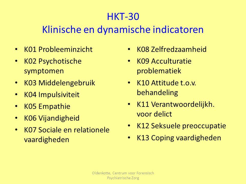 Oldenkotte, Centrum voor Forensisch Psychiatrische Zorg HKT-30 Toekomstige situatieve indicatoren T01 Overeenstemming over voorwaarden T02 Materiële indicatoren T03 Dagbesteding T04 Vaardigheden T05 Sociale steun en netwerk T06 Stresserende omstandigheden