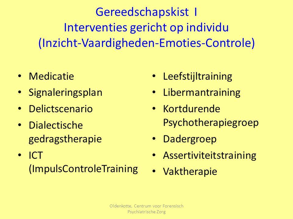 Oldenkotte, Centrum voor Forensisch Psychiatrische Zorg Gereedschapskist I Interventies gericht op individu (Inzicht-Vaardigheden-Emoties-Controle) Me