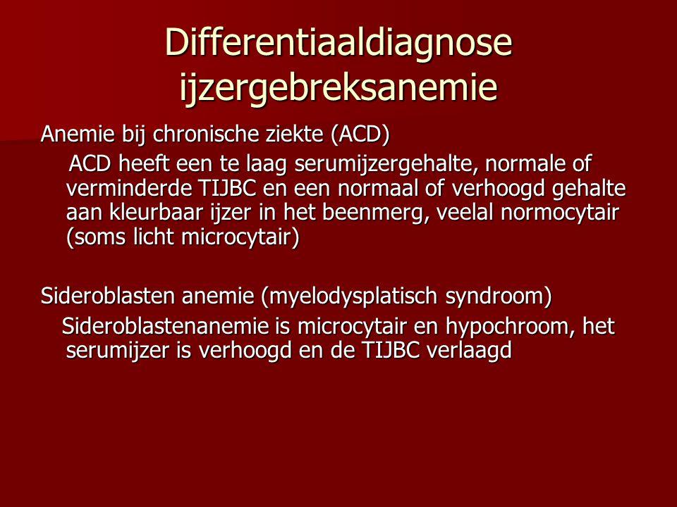 Differentiaaldiagnose ijzergebreksanemie Anemie bij chronische ziekte (ACD) ACD heeft een te laag serumijzergehalte, normale of verminderde TIJBC en e