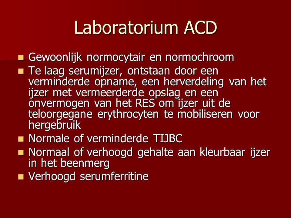 Laboratorium ACD Gewoonlijk normocytair en normochroom Gewoonlijk normocytair en normochroom Te laag serumijzer, ontstaan door een verminderde opname,