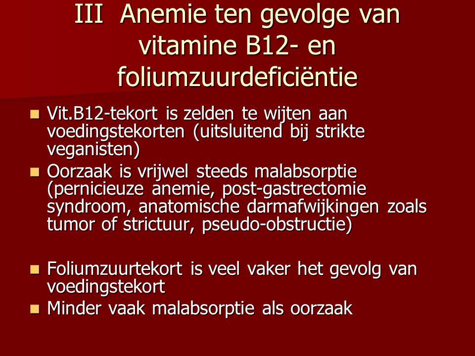 III Anemie ten gevolge van vitamine B12- en foliumzuurdeficiëntie Vit.B12-tekort is zelden te wijten aan voedingstekorten (uitsluitend bij strikte veg