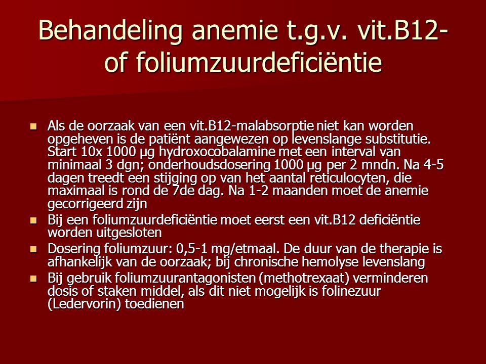 Behandeling anemie t.g.v. vit.B12- of foliumzuurdeficiëntie Als de oorzaak van een vit.B12-malabsorptie niet kan worden opgeheven is de patiënt aangew