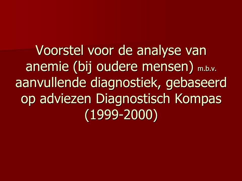 Voorstel voor de analyse van anemie (bij oudere mensen) m.b.v. aanvullende diagnostiek, gebaseerd op adviezen Diagnostisch Kompas (1999-2000)