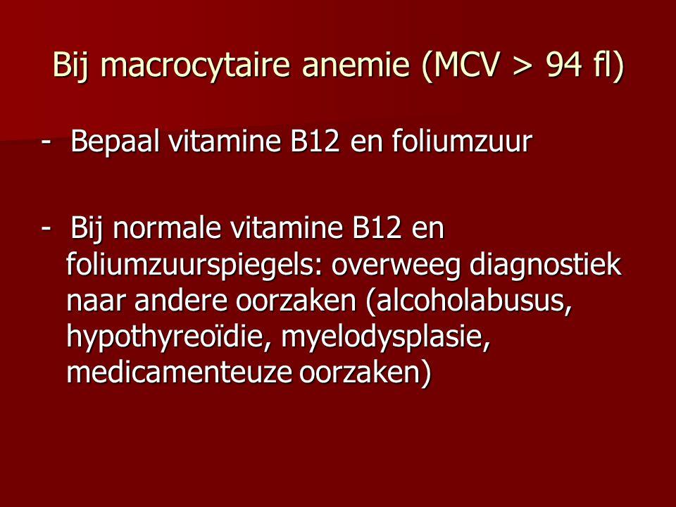 Bij macrocytaire anemie (MCV > 94 fl) - Bepaal vitamine B12 en foliumzuur - Bij normale vitamine B12 en foliumzuurspiegels: overweeg diagnostiek naar