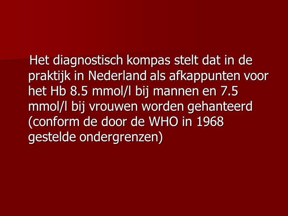 Het diagnostisch kompas stelt dat in de praktijk in Nederland als afkappunten voor het Hb 8.5 mmol/l bij mannen en 7.5 mmol/l bij vrouwen worden gehan