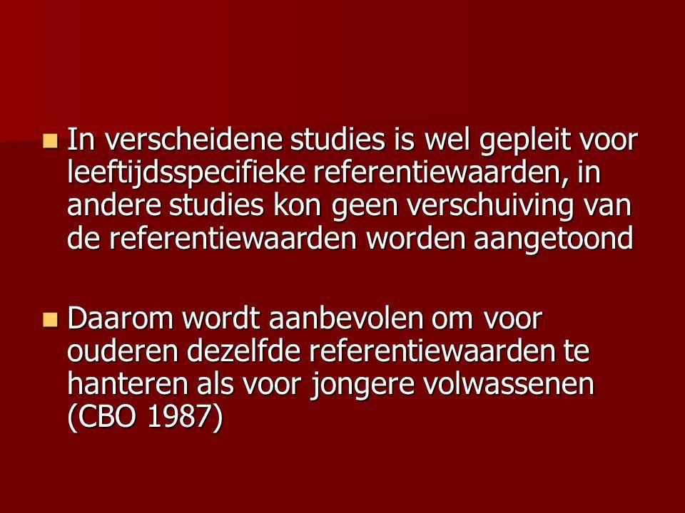 In verscheidene studies is wel gepleit voor leeftijdsspecifieke referentiewaarden, in andere studies kon geen verschuiving van de referentiewaarden wo