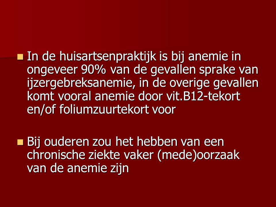 In de verpleeghuisgeneeskunde worden milde anemieën bij ouderen vaak geaccepteerd, zeker als het een toevalsbevinding betreft, vanwege de afweging betreffende belasting en belastbaarheid van de patiënt voor verder onderzoek waarvan de opbrengst vaak teleurstellend is In de verpleeghuisgeneeskunde worden milde anemieën bij ouderen vaak geaccepteerd, zeker als het een toevalsbevinding betreft, vanwege de afweging betreffende belasting en belastbaarheid van de patiënt voor verder onderzoek waarvan de opbrengst vaak teleurstellend is