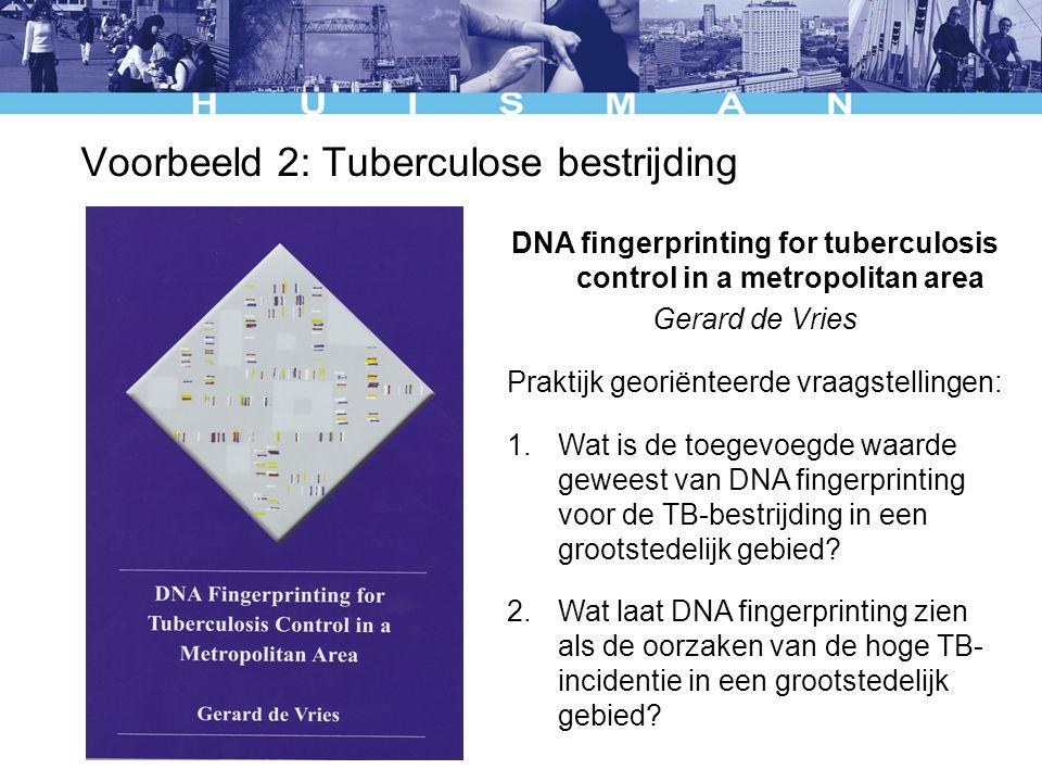 Voorbeeld 2: Tuberculose bestrijding DNA fingerprinting for tuberculosis control in a metropolitan area Gerard de Vries Praktijk georiënteerde vraagstellingen: 1.Wat is de toegevoegde waarde geweest van DNA fingerprinting voor de TB-bestrijding in een grootstedelijk gebied.
