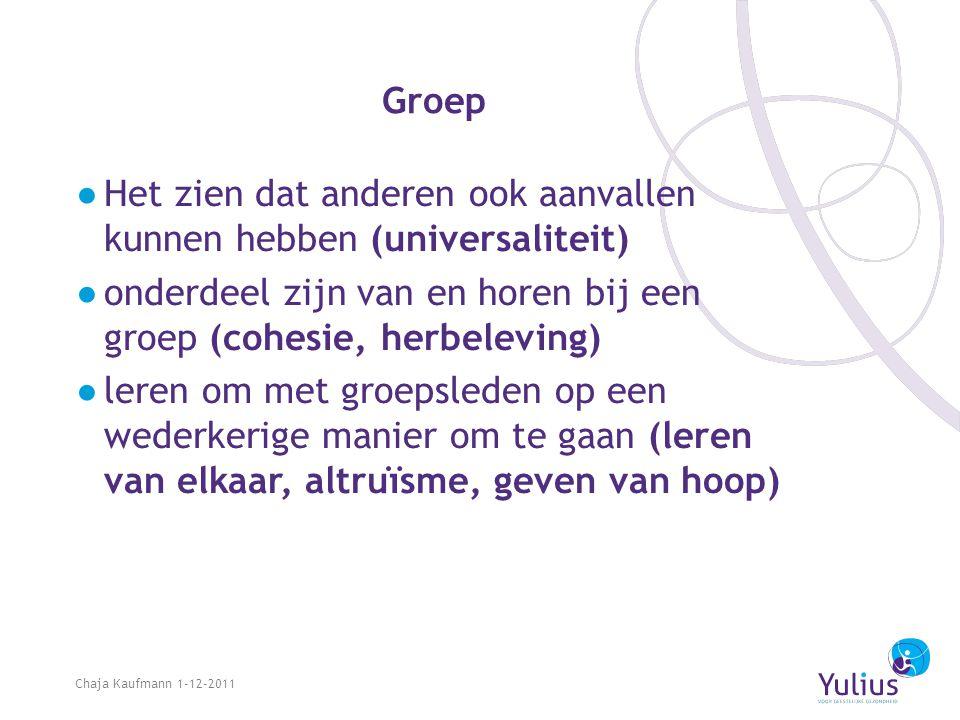 Groep ●H●Het zien dat anderen ook aanvallen kunnen hebben (universaliteit) ●o●onderdeel zijn van en horen bij een groep (cohesie, herbeleving) ●l●lere