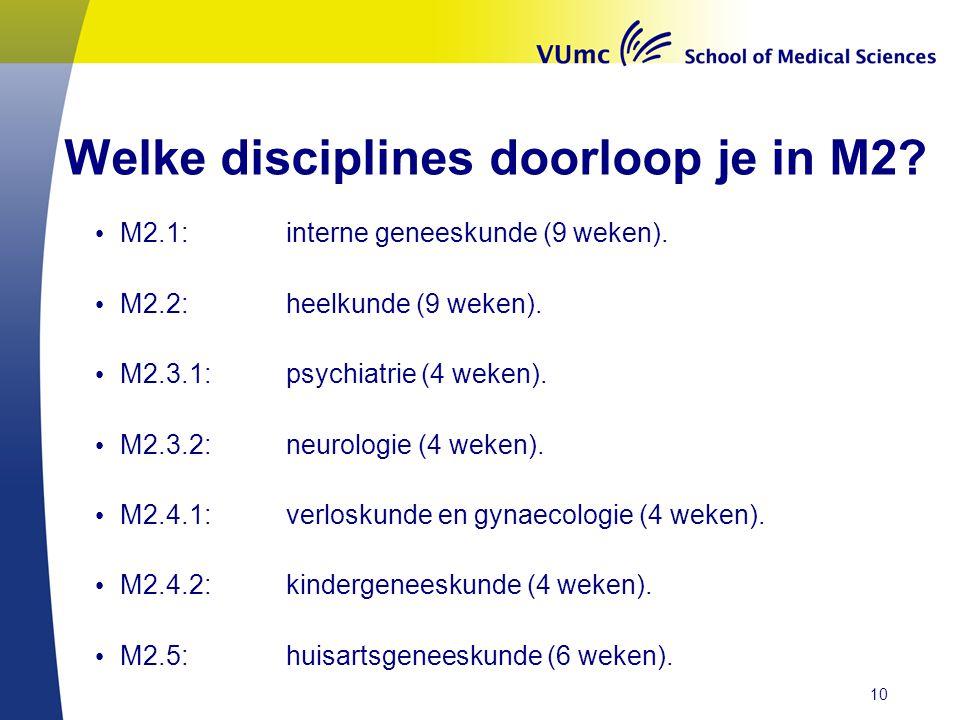 Welke disciplines doorloop je in M2.M2.1:interne geneeskunde (9 weken).