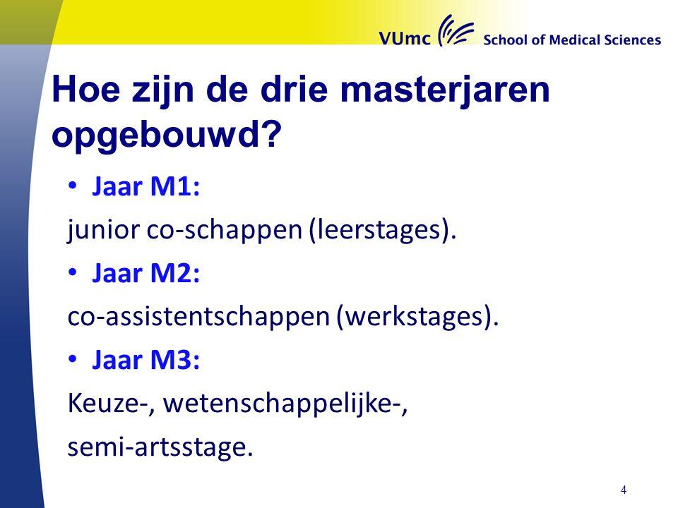 Hoe zijn de drie masterjaren opgebouwd.Jaar M1: junior co-schappen (leerstages).