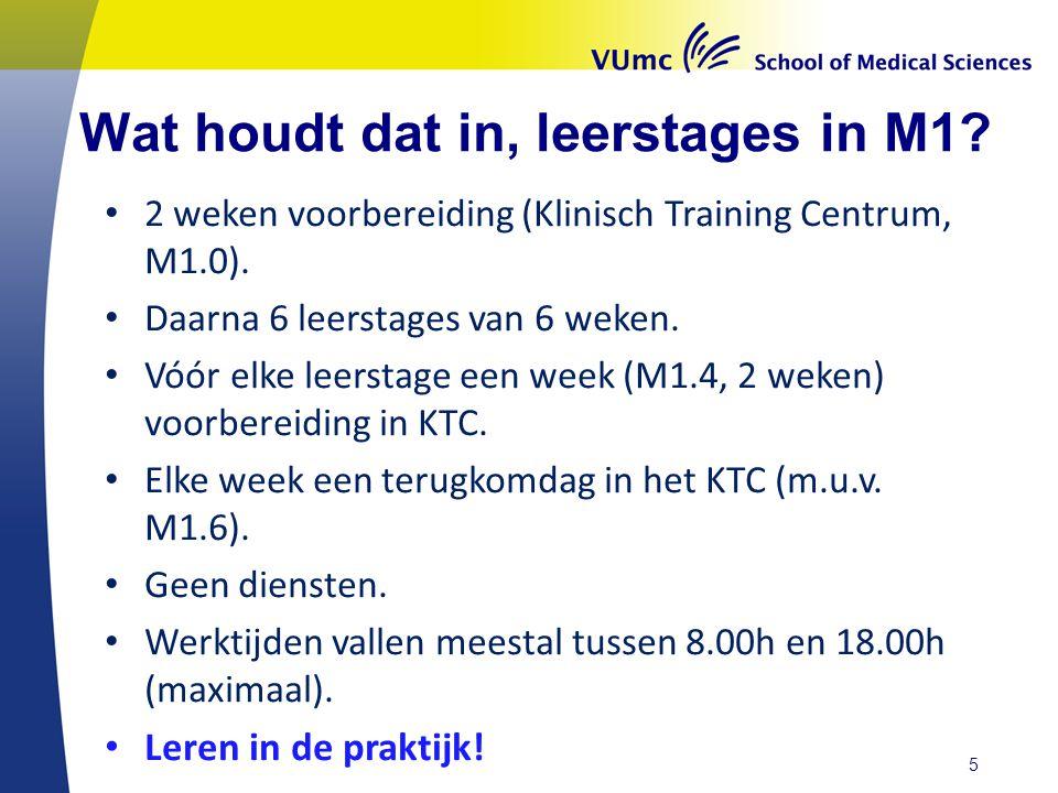Wat houdt dat in, leerstages in M1.2 weken voorbereiding (Klinisch Training Centrum, M1.0).