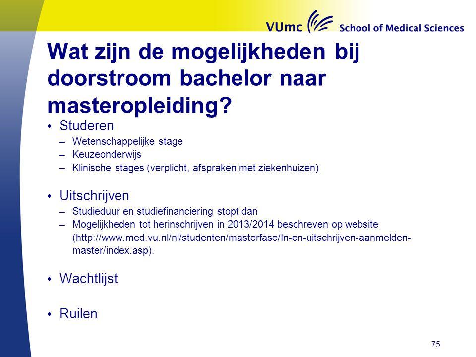 Wat zijn de mogelijkheden bij doorstroom bachelor naar masteropleiding.