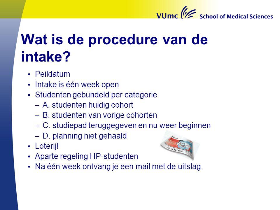 Wat is de procedure van de intake.