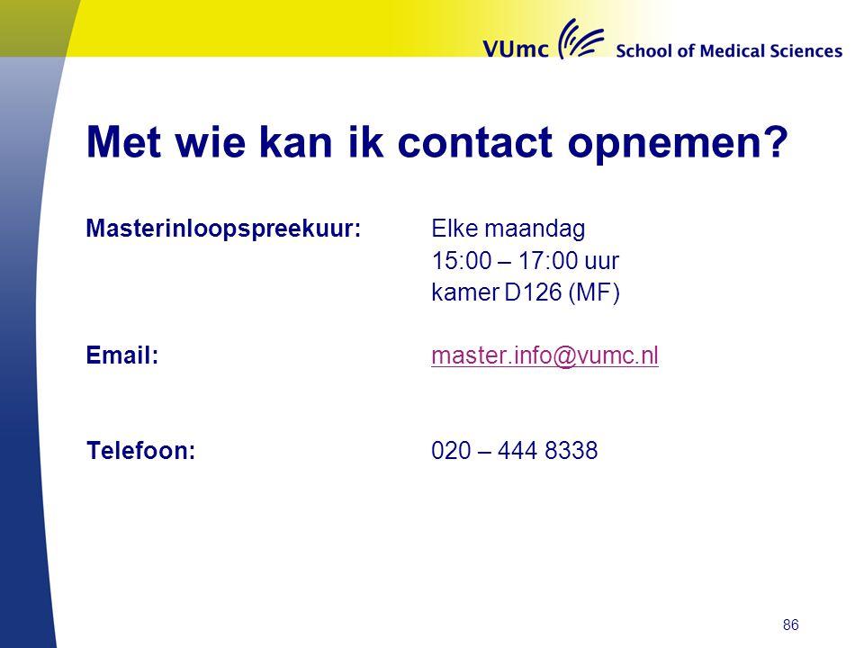 Met wie kan ik contact opnemen.