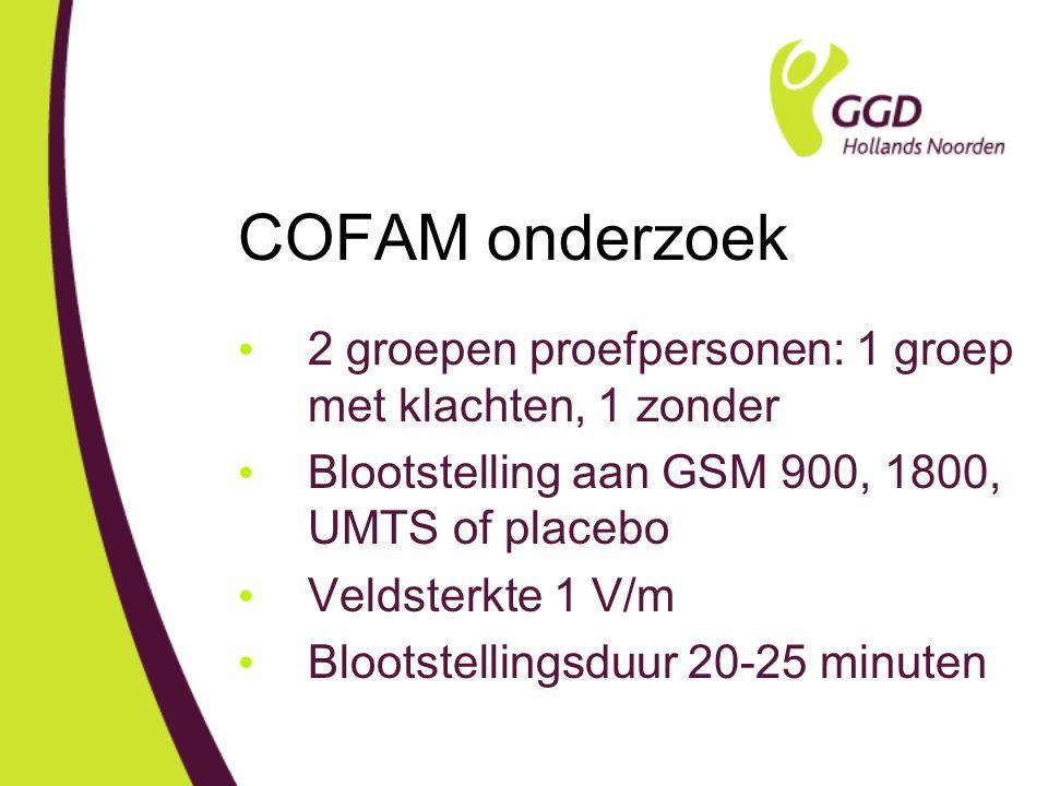 COFAM onderzoek 2 groepen proefpersonen: 1 groep met klachten, 1 zonder Blootstelling aan GSM 900, 1800, UMTS of placebo Veldsterkte 1 V/m Blootstellingsduur 20-25 minuten
