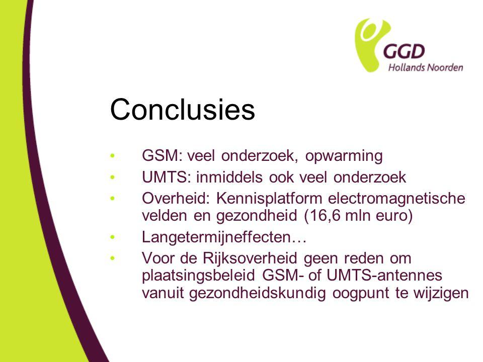 Conclusies GSM: veel onderzoek, opwarming UMTS: inmiddels ook veel onderzoek Overheid: Kennisplatform electromagnetische velden en gezondheid (16,6 mln euro) Langetermijneffecten… Voor de Rijksoverheid geen reden om plaatsingsbeleid GSM- of UMTS-antennes vanuit gezondheidskundig oogpunt te wijzigen