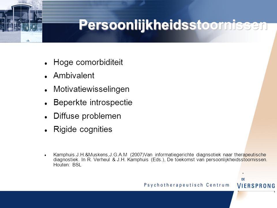 Persoonlijkheidsstoornissen Hoge comorbiditeit Ambivalent Motivatiewisselingen Beperkte introspectie Diffuse problemen Rigide cognities Kamphuis.J.H.&Muskens,J.G.A.M (2007)Van informatiegerichte diagnsotiek naar therapeutische diagnostiek.
