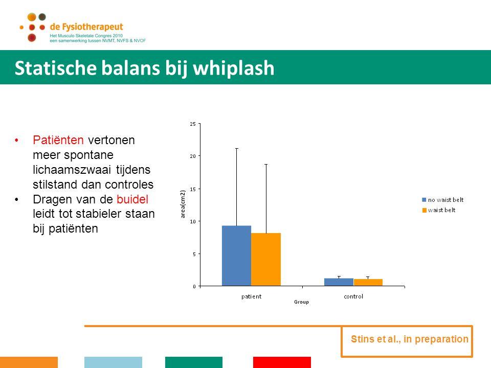 Dynamische balans bij whiplash Stins et al., in preparation Taak: door middel van ritmische gewichtsverplaatsingen het eigen COP (cirkel) te 'slalommen' om langzaam vallende blokjes.