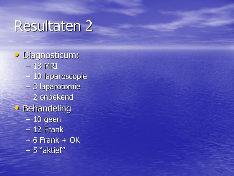 Resultaten 2 Diagnosticum: Diagnosticum: –18 MRI –10 laparoscopie –3 laparotomie –2 onbekend Behandeling Behandeling –10 geen –12 Frank –6 Frank + OK