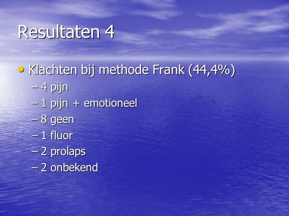 Resultaten 4 Klachten bij methode Frank (44,4%) Klachten bij methode Frank (44,4%) –4 pijn –1 pijn + emotioneel –8 geen –1 fluor –2 prolaps –2 onbeken