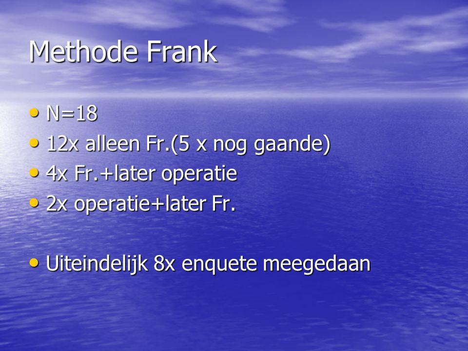 Methode Frank N=18 N=18 12x alleen Fr.(5 x nog gaande) 12x alleen Fr.(5 x nog gaande) 4x Fr.+later operatie 4x Fr.+later operatie 2x operatie+later Fr