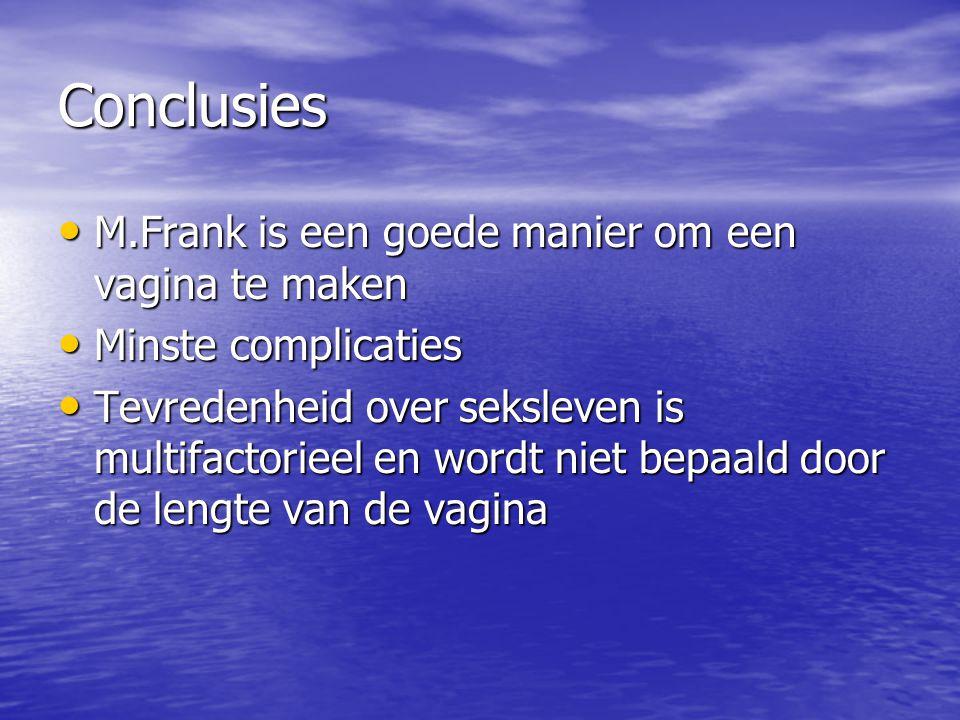 Conclusies M.Frank is een goede manier om een vagina te maken M.Frank is een goede manier om een vagina te maken Minste complicaties Minste complicati