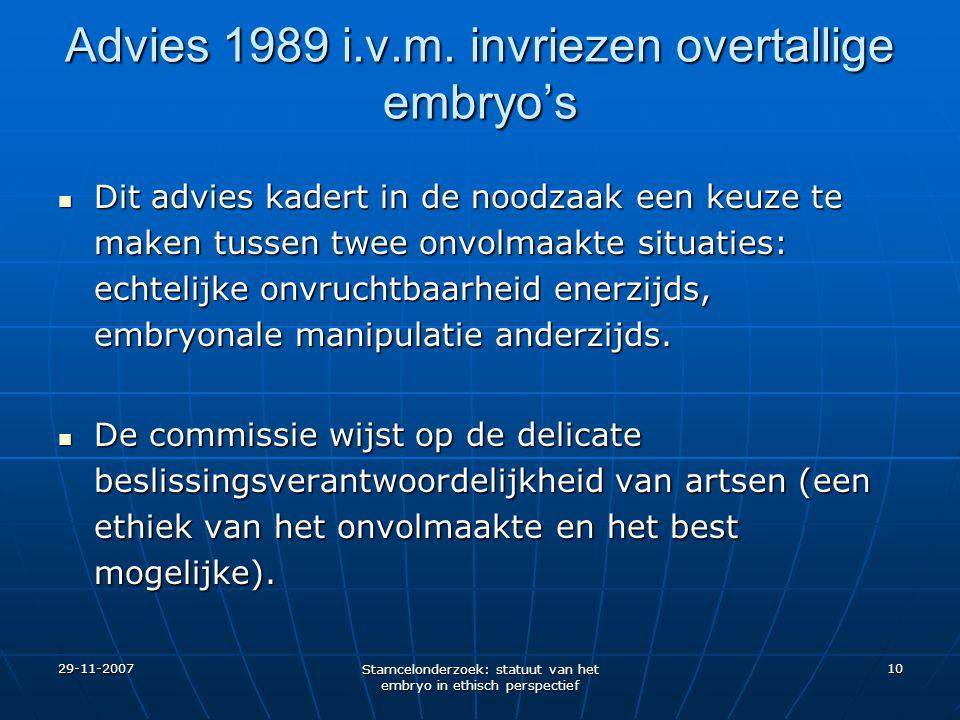 29-11-2007 Stamcelonderzoek: statuut van het embryo in ethisch perspectief 10 Advies 1989 i.v.m. invriezen overtallige embryo's Dit advies kadert in d