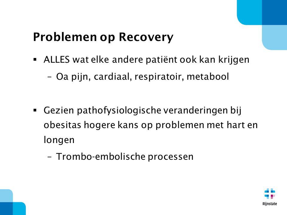 Problemen op Recovery  ALLES wat elke andere patiënt ook kan krijgen –Oa pijn, cardiaal, respiratoir, metabool  Gezien pathofysiologische veranderin