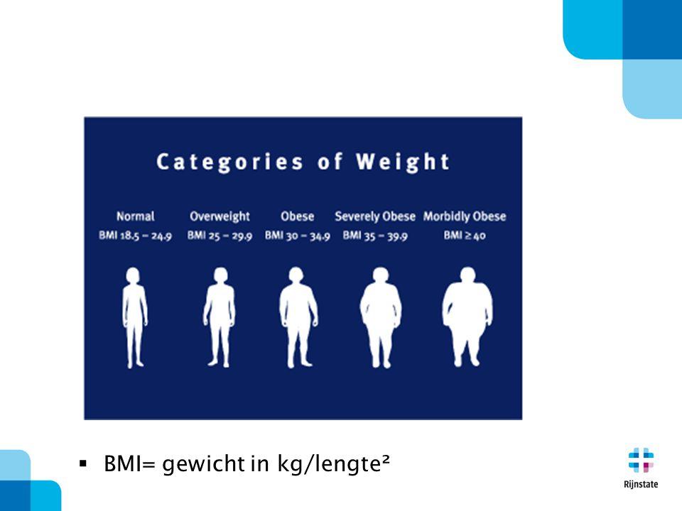  BMI= gewicht in kg/lengte²