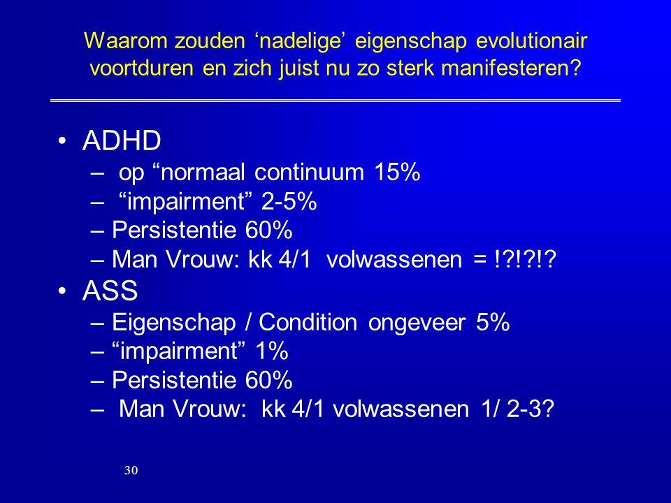 """Waarom zouden 'nadelige' eigenschap evolutionair voortduren en zich juist nu zo sterk manifesteren? ADHD – op """"normaal continuum 15% – """"impairment"""" 2-"""