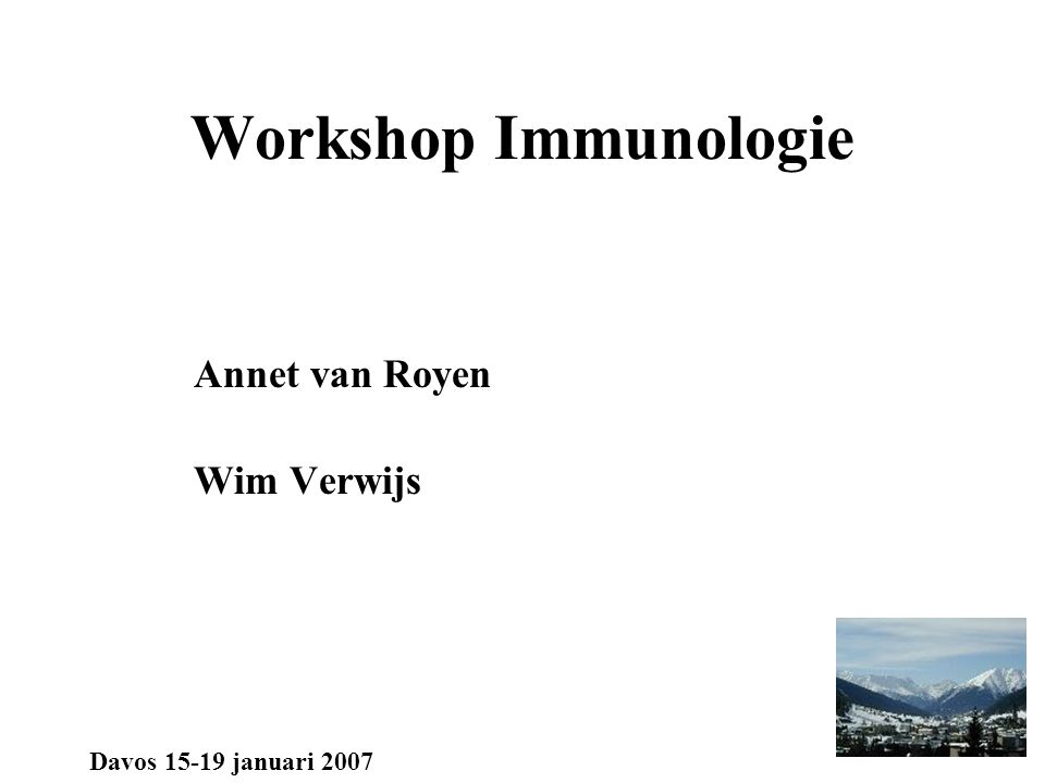 Workshop Immunologie incidentie PID