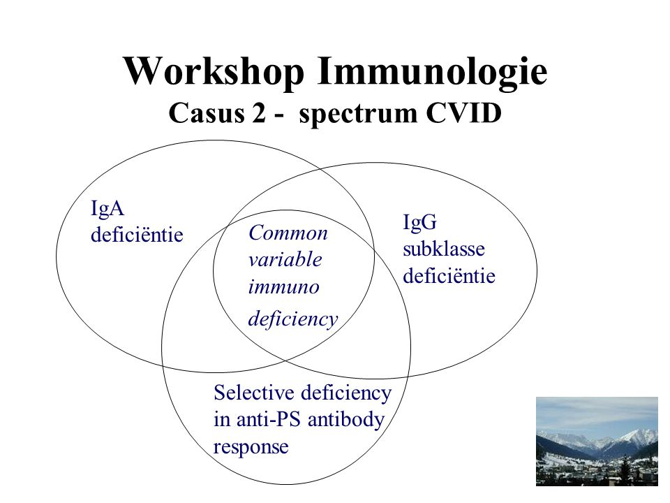 Workshop Immunologie Casus 2 - spectrum CVID IgA deficiëntie IgG subklasse deficiëntie Selective deficiency in anti-PS antibody response Common variab
