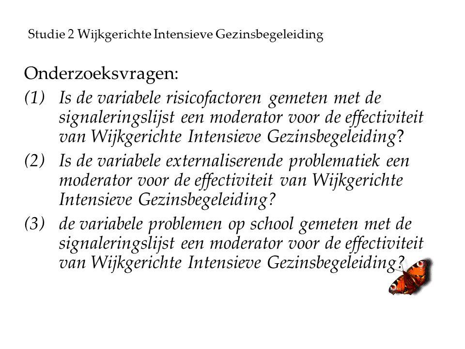 Studie 2 Wijkgerichte Intensieve Gezinsbegeleiding Onderzoeksvragen: (1)Is de variabele risicofactoren gemeten met de signaleringslijst een moderator voor de effectiviteit van Wijkgerichte Intensieve Gezinsbegeleiding.
